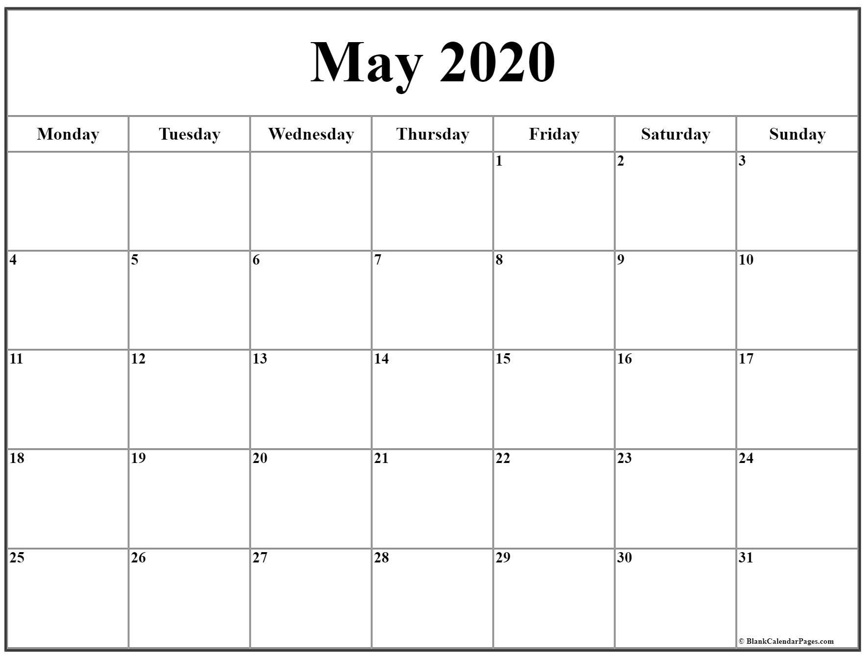 Universal Printable Calendar Monday- Friday | Get Your
