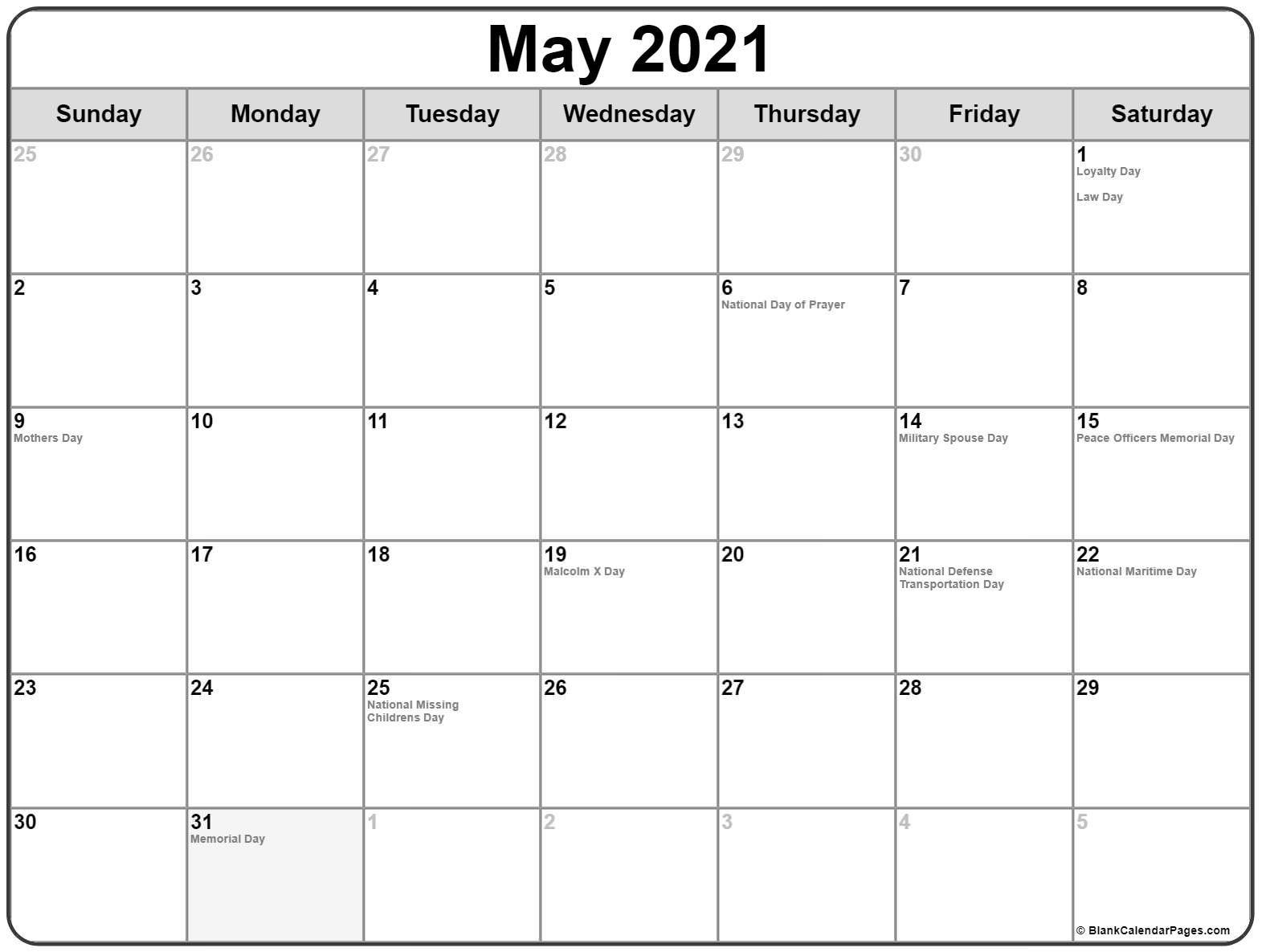 Us Calendar Holidays 2021 | Calendar Printables, Holiday