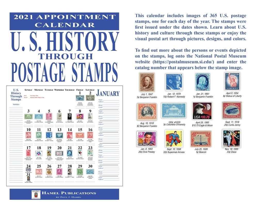 Us History Through Stamps 2021 Appointment Calendar