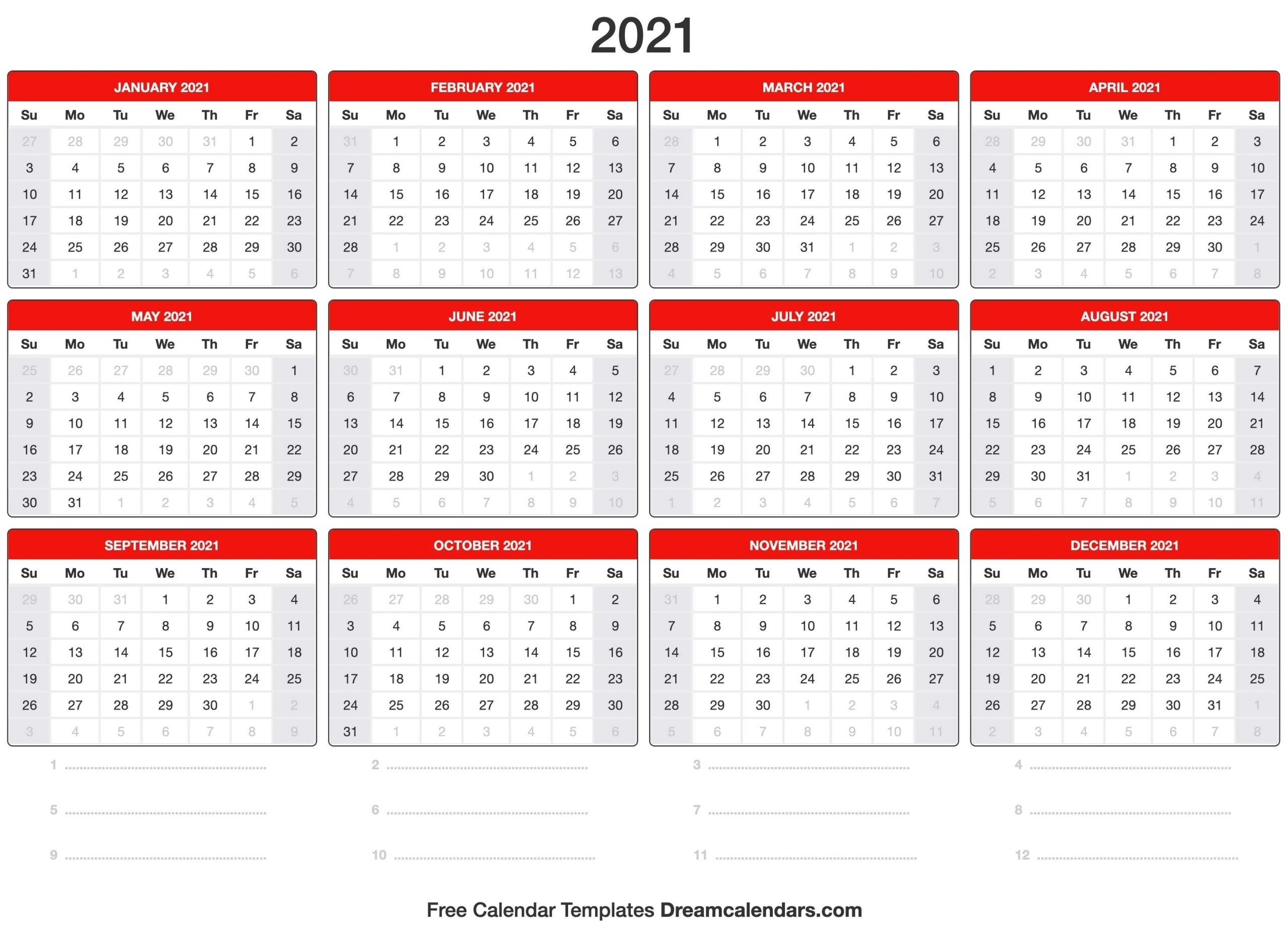 Vacation Calendar 2021 Printable | Best Calendar Example