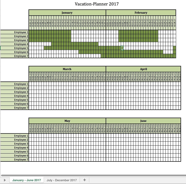 Vacation Calendar Template - Wanew