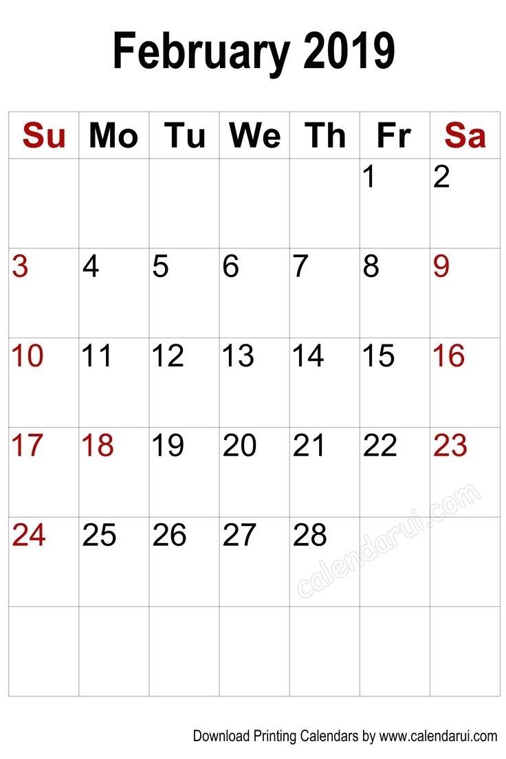 Vertical Blank February 2019 Calendar Printable | Calendar