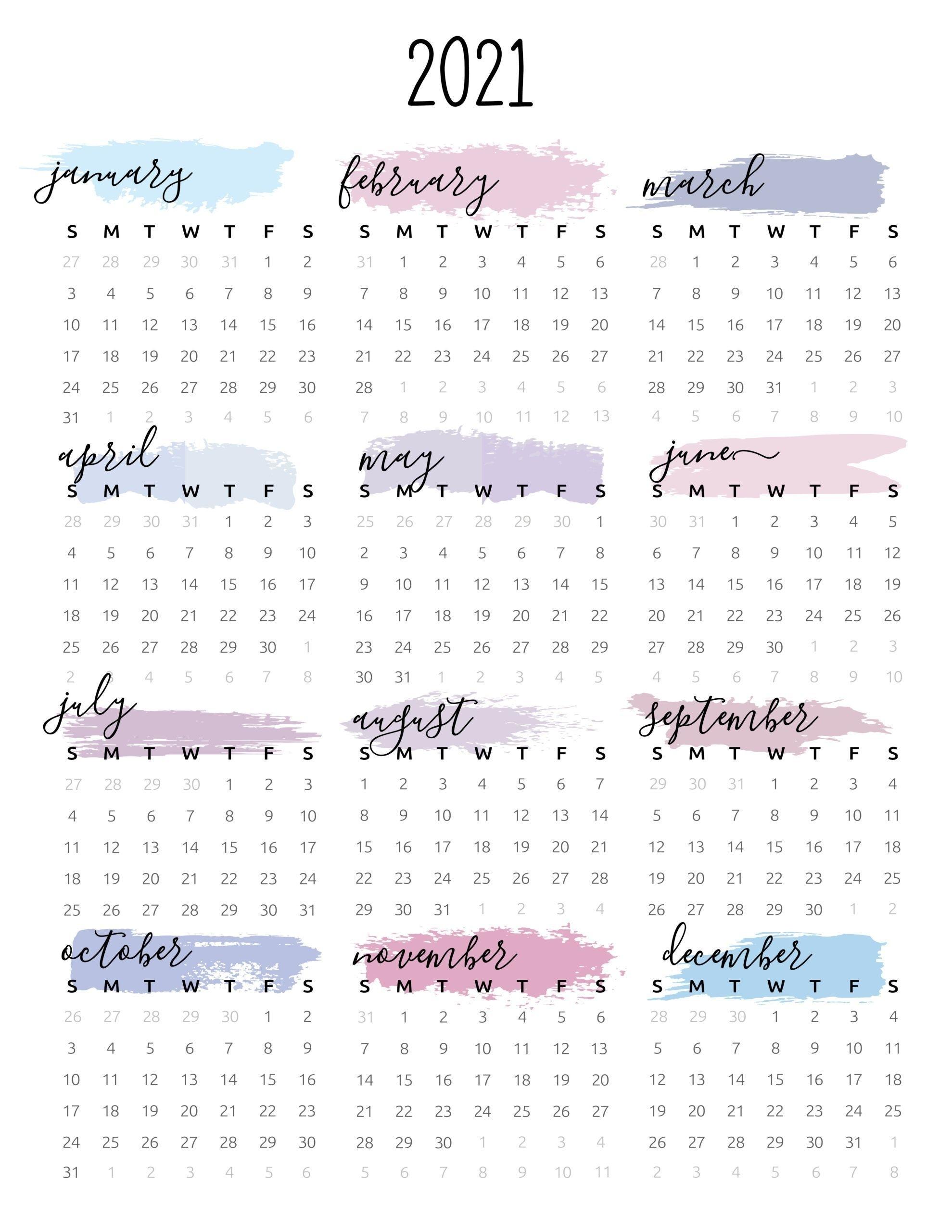 Watercolor One Page 2021 Calendar | Desain Kalender