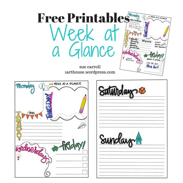 Week At A Glance/ Free Printable / Sue Carroll   Free