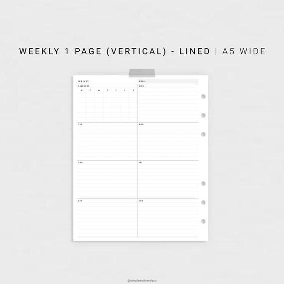 Week On One Page Printable A5 Wide Weekly 1 Page Vertical