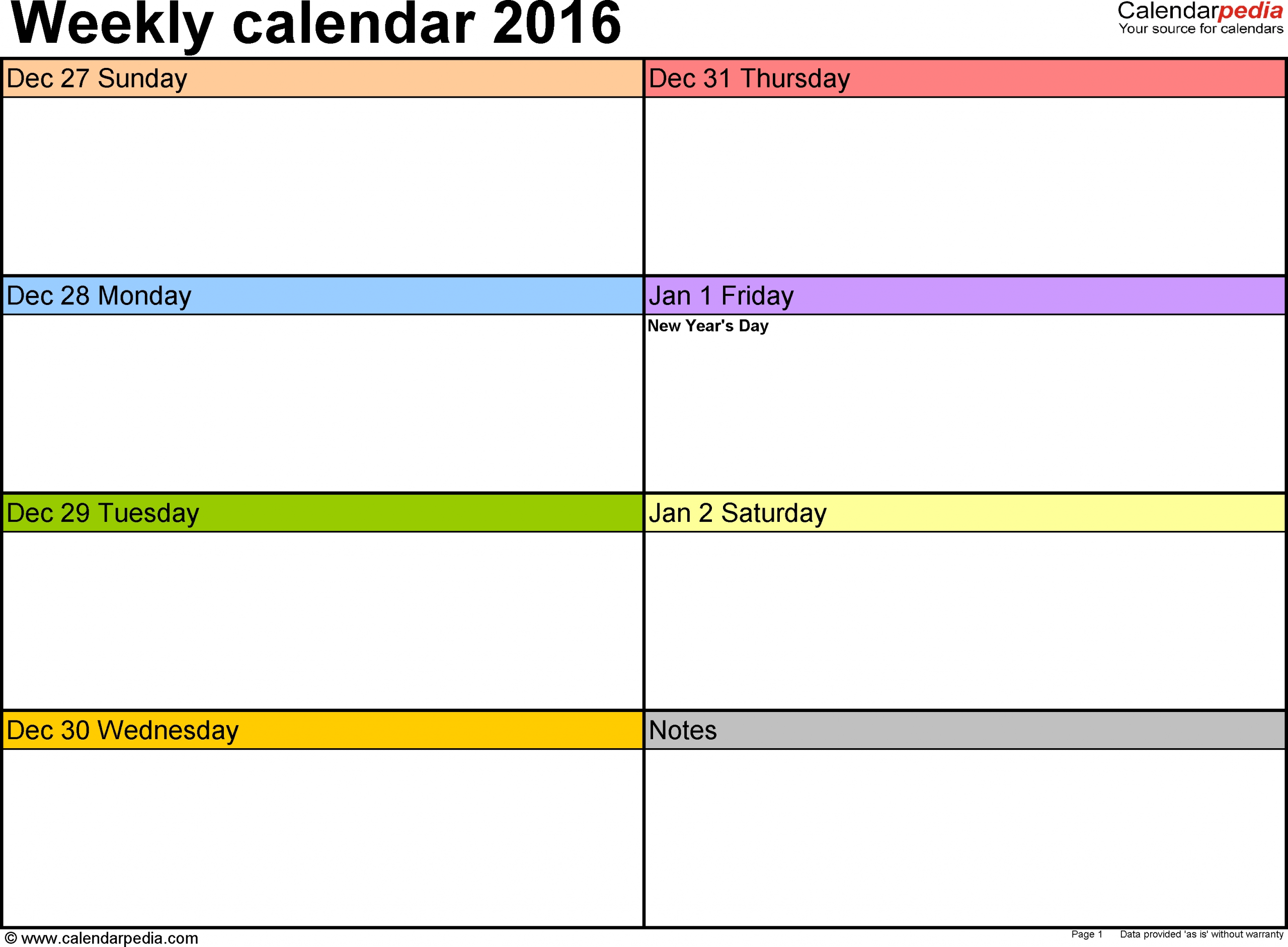 Weekly Calendar 2016: Template For Pdf Version 6