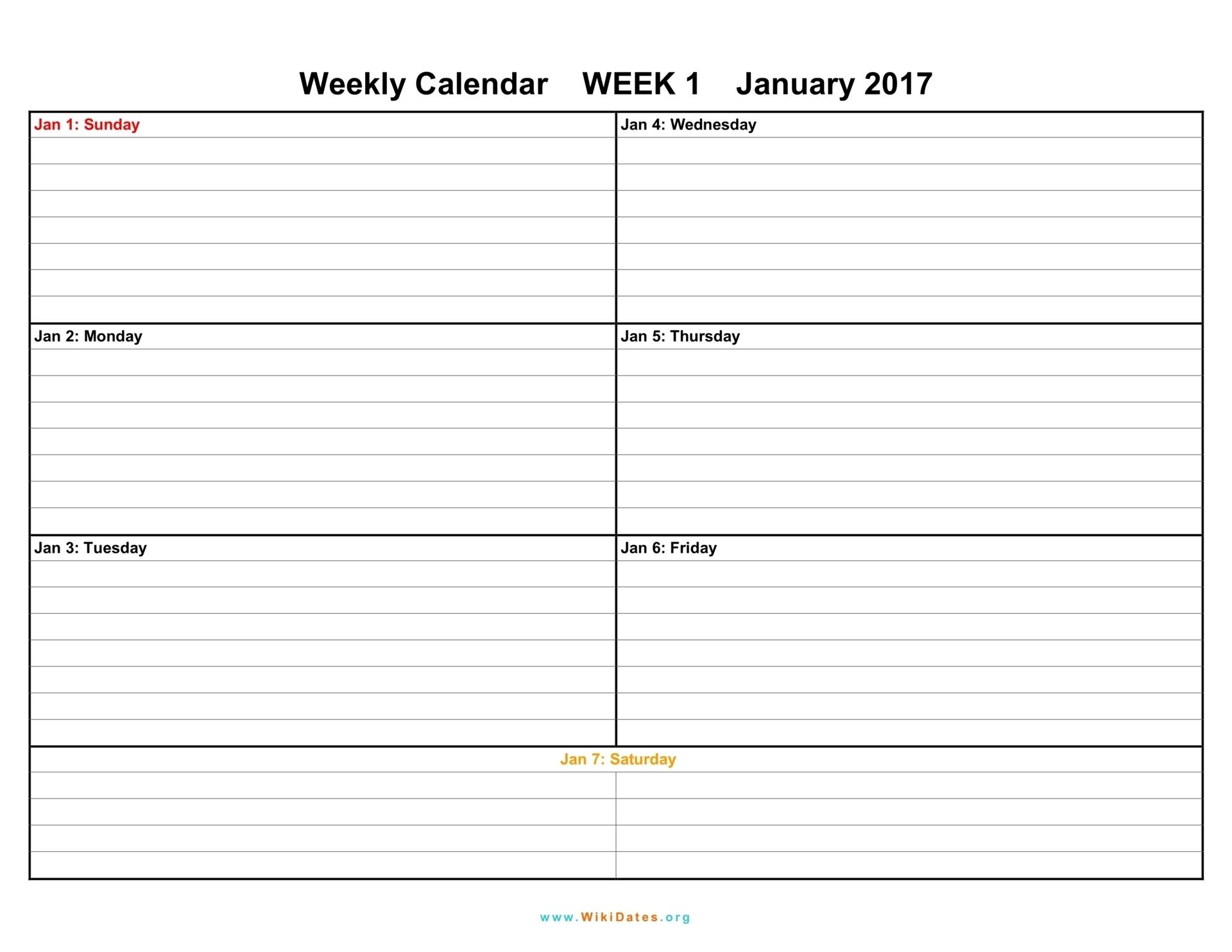 Weekly Calendar - Download Weekly Calendar 2017 And 2018