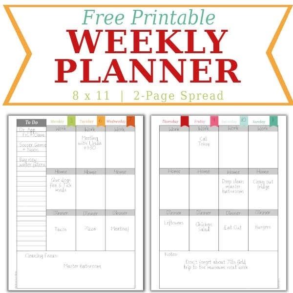 Weekly Calendar - Home Management Binder - Free Printable