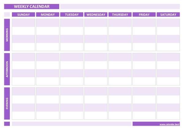 Weekly Calendar, Weekly Schedule -Calendar.best