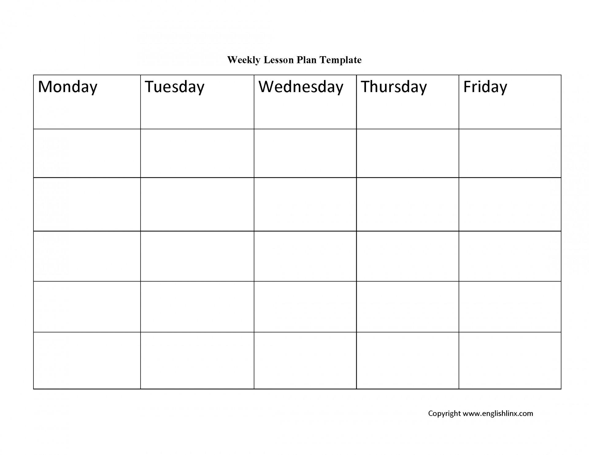 Weekly Lesson Plan Blank Template   Example Calendar Printable