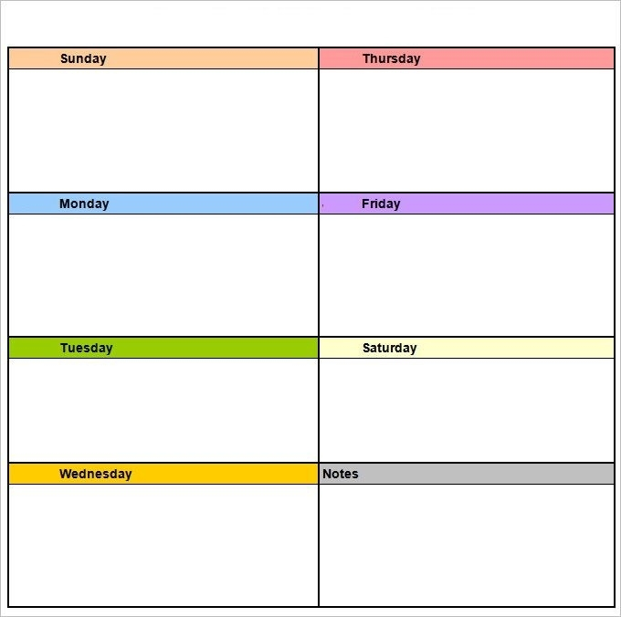 Weekly Printable Calendar Template #Weeklyplanner #
