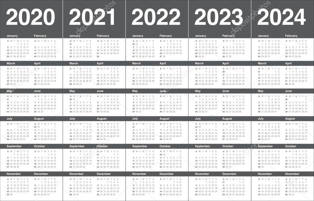 Year 2020 2021 2022 2023 2024 Calendar Vector Design