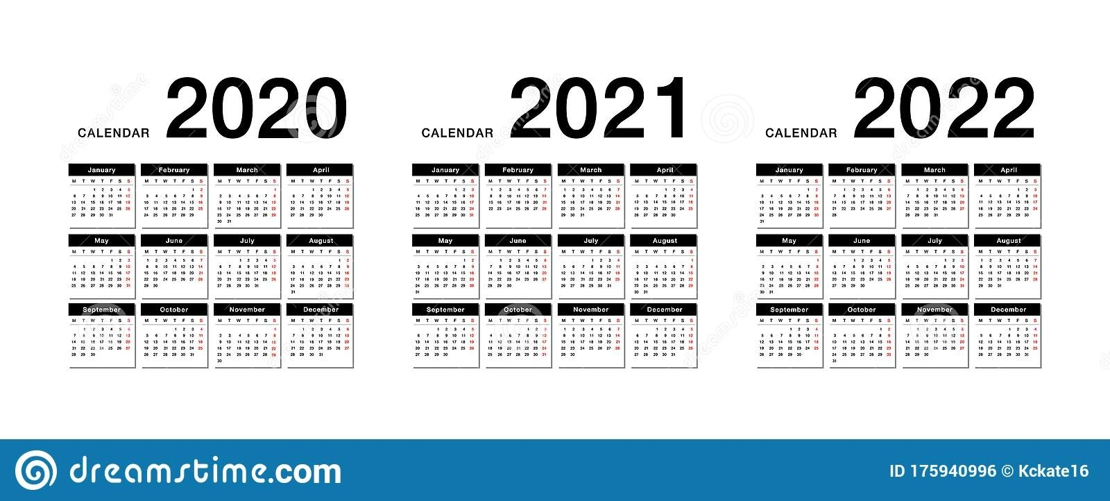 Year 2020 And Year 2021 And Year 2022 Calendar Vector