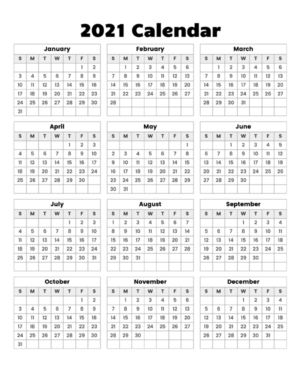 Year At A Glance Calendar 2021 - Calendar Options