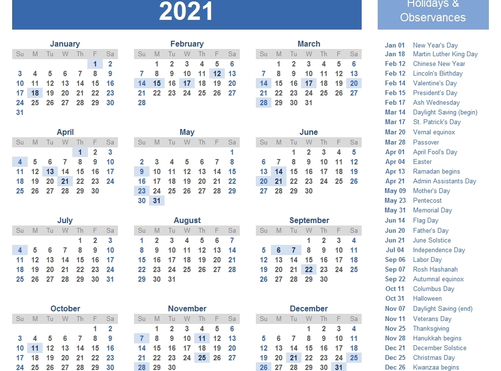Yearly 2021 Printable Calendar Template - Pdf, Word, Excel