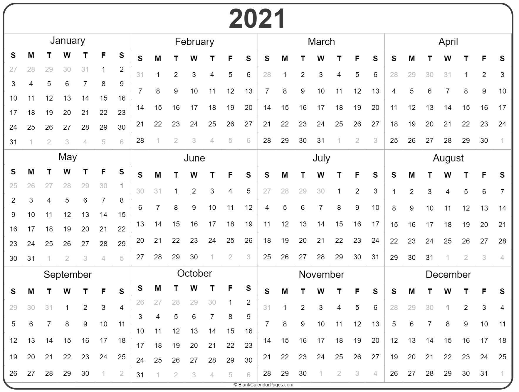Yearly Calendar 2021 Free Printable | Avnitasoni
